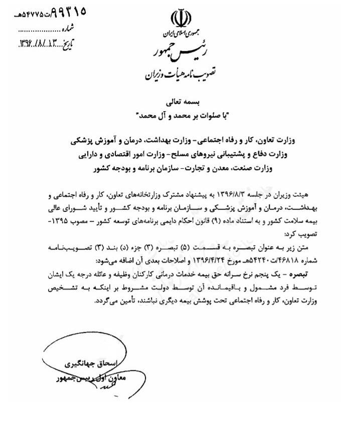 تصویب پرداخت ۸۰ درصد حق بیمه کارکنان وظیفه توسط دولت + سند