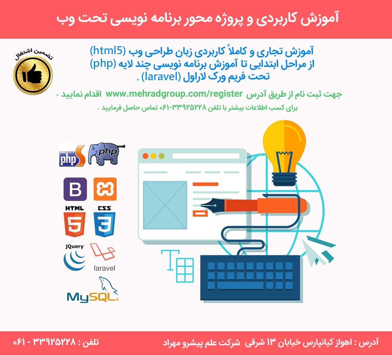 آموزش کاربردی و پروژه محور برنامه نویسی تحت وب با تضمین اشتغال